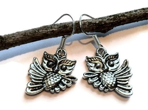Custom Made Silver Flying Owl Earrings