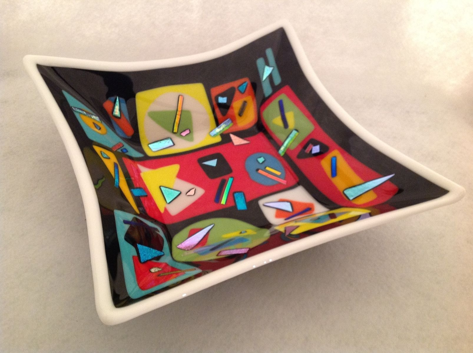 Hand Crafted Large Fused Glass Square Bowl With Geometric