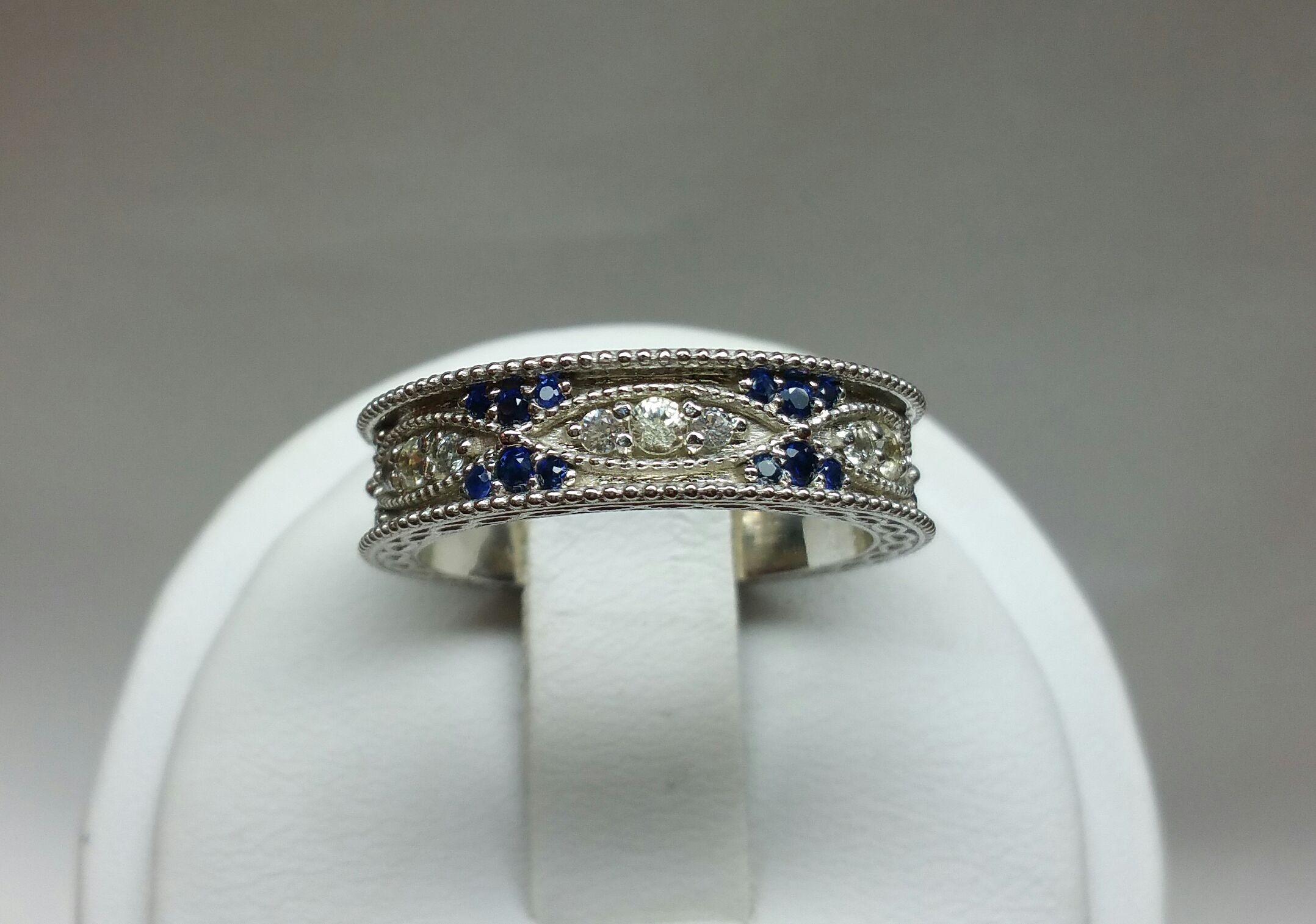 Custom Made Vintage Art Deco Wedding Band With Natural White And Blue Shires