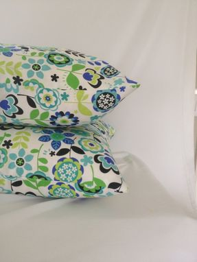 Custom Made Blue And Green Floral Print Cotton Pillow Cover