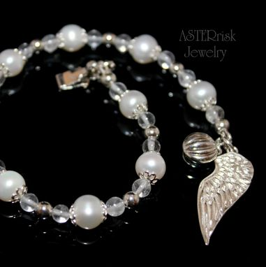 Custom Made Silver And Pearl Angel Wing Bracelet