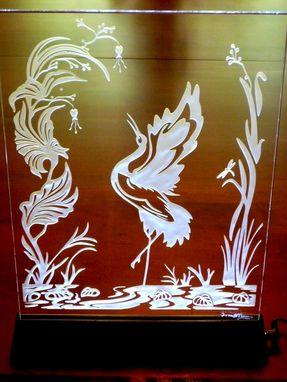 Custom Made Illuminated Crystal Artwork - Crane In A Pond