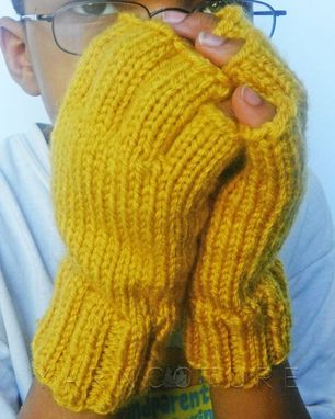 Custom Made Ergonomically Correct Half Fingered Mitts / Fingerless Gloves - In Mustard / Fall Winter Fashion