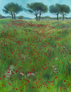 Custom Made Tuscan Poppies (Italy) Painting - Fine Art Print On Paper (27