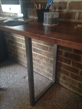 Custom Made Black Walnut And Steel Built-In Desk