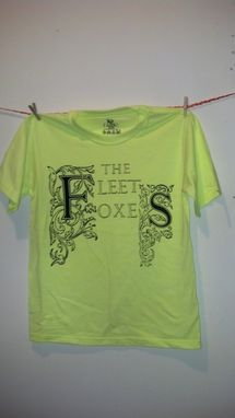 Custom Made Sale The Fleet Foxes Original Screen Printed Teen's Xl (Adult Small) Neon Yellow Shirt