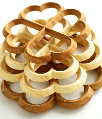 Custom Made Bamboo Heart Trivets