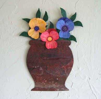 Custom Made Handmade Upcycled Metal Pansies Wall Art Sculpture