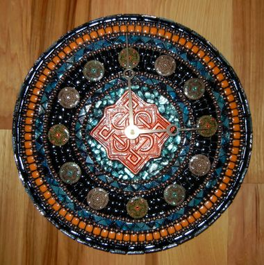 Custom Made Turquoise, Black & Blue Celtic Mosaic Clock