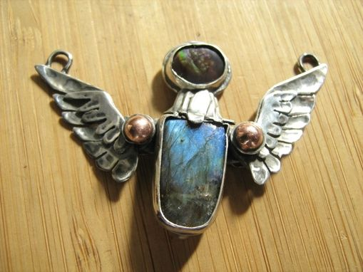 Custom Made Sterling Silver Winged Fire Agate And Labradorite Deva Necklace.