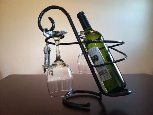 Custom Made Wine Bottle And Glass Holder