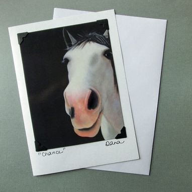 Custom Made Horse Card - Sanctuary One Horse Card & Postcard - Grey Rescue Horse - Equine Art Card