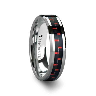 Custom Made Aurelius Tungsten Carbide Ring Inlaid With A Black & Red Carbon Fiber - 6mm & 8mm