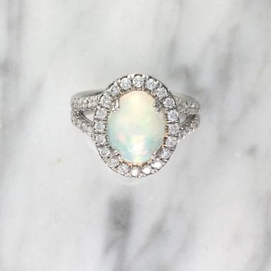 Custom Made Oval Opal Halo Engagement Ring W/ Diamonds Split Shank - October Birthstone