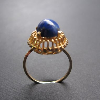 Custom Made Vintage Ring 14k Yellow Gold And Lapis Lazuli