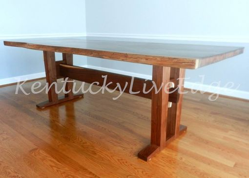 Custom Made Live Edge Walnut Dining Table Trestle Base