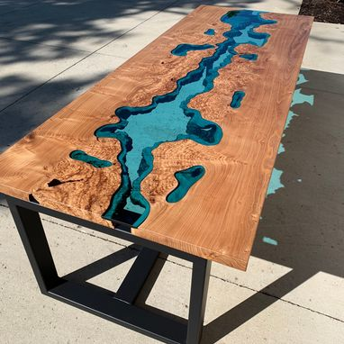 Custom Made Live Edge Red Elm Burl River Glass Dining Table