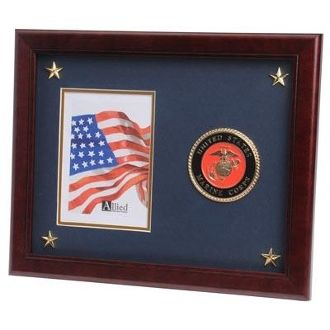 Custom Made U.S. Marine Corps Medallion Picture Frame With Stars