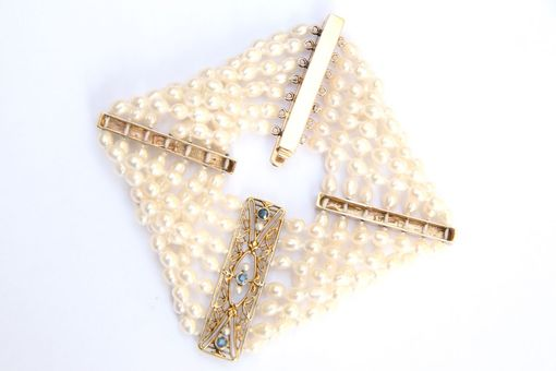 Custom Made Solid Yellow Gold Striking Art Deco Pearl & Sapphire Bracelet. Perfect For Bridal Jewelry!