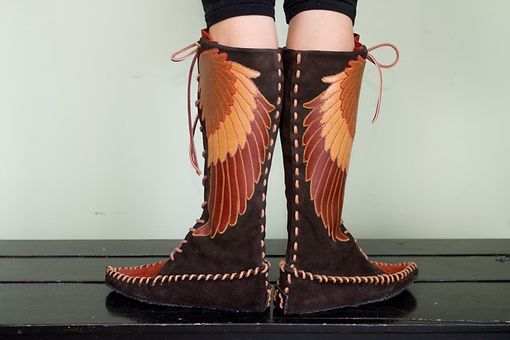 Custom Made Winged Lace-Up Leather Moccasins