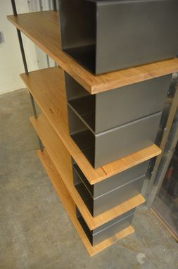Custom Made Large Wood And Metal Industrial Bookshelf