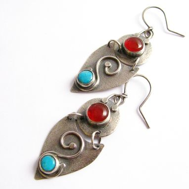 Custom Made Custom Made Handcrafted Sterling Silver And Double Gemstone Shield Earrings By Mocahete