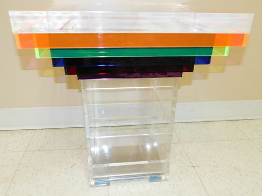 Custom Made Acrylic Side / End Table - Rainbow Table - True One Of A Kind