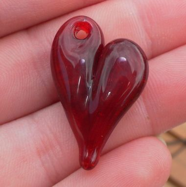 Custom Made Solid Red Glass Heart Pendant