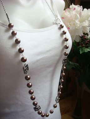 Custom Made Pump It Up Taupe Pearl Long Necklace