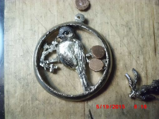 Custom Made Silver And 18kt.'Chickadee' 25m. Saw-Pierced And 3-D Carved