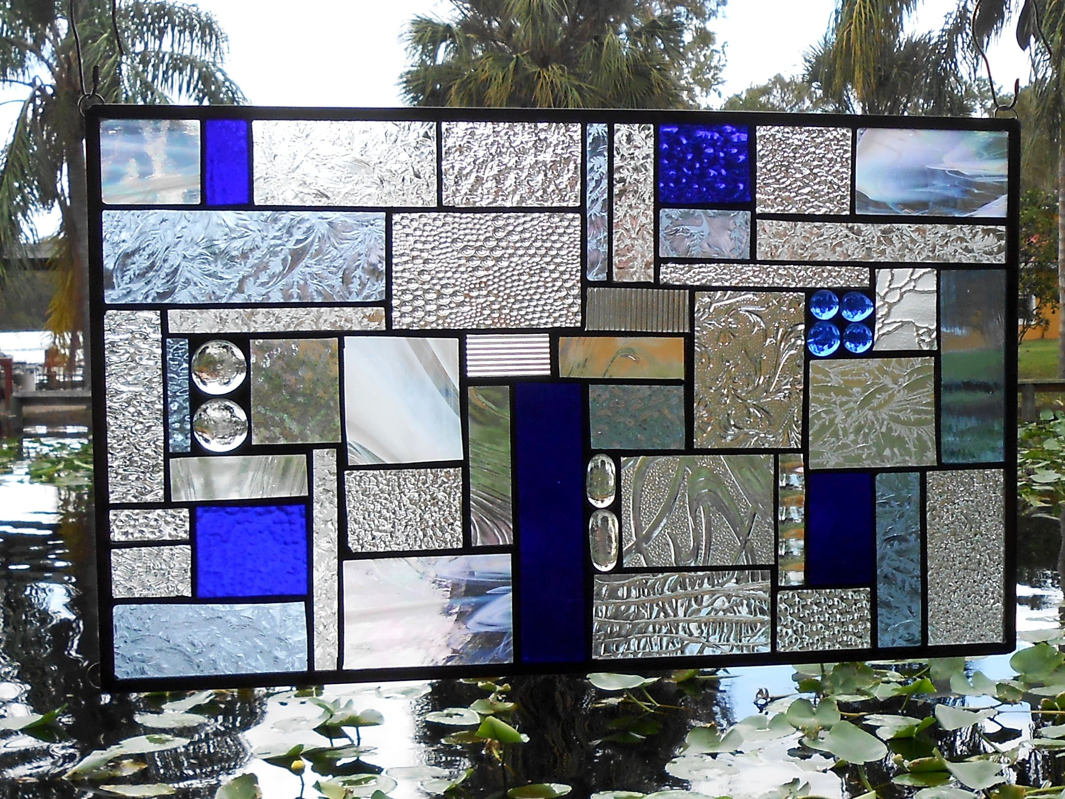 Custom Made Stained Gl Panel Shades Of Blue Crazy Quilt Patchwork Geometric Window Transom