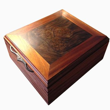 hand made artisan jewelry box mahogany walnut burl by