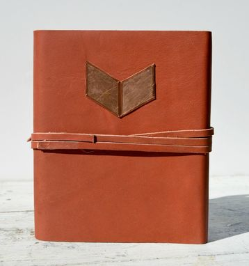 Custom Made Red Leather Bound Handmade Journal Copper Chevron Poetry Travel Diary Silkscreen Art Book (186)