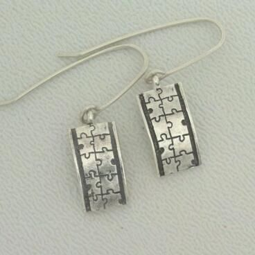 Custom Made Custom Sterling Silver Earrings, Puzzle Pieces