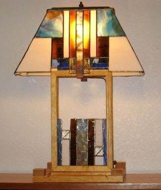 Custom Made Prairie Style Stained Glass Lamp For Home Or Office Decor