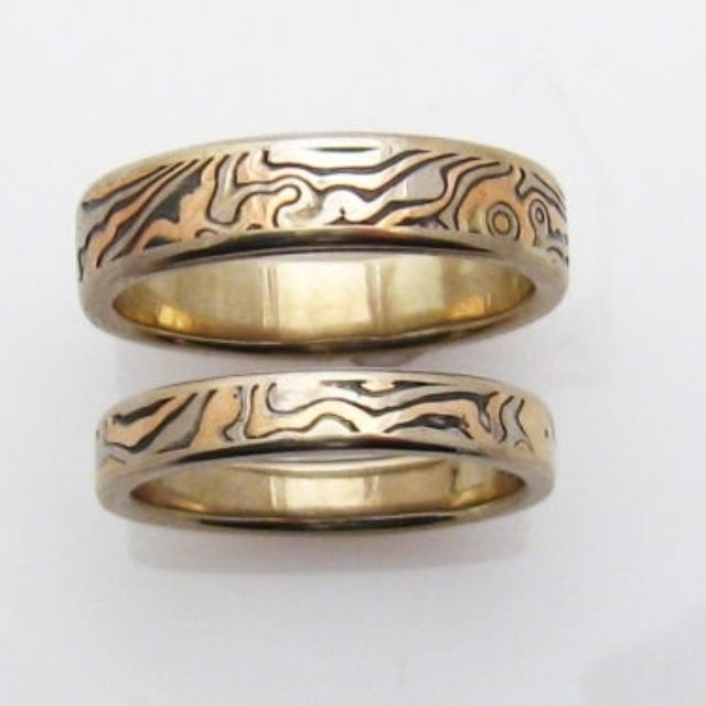 metals twist tricolor mokume gane persimmon rings custom products