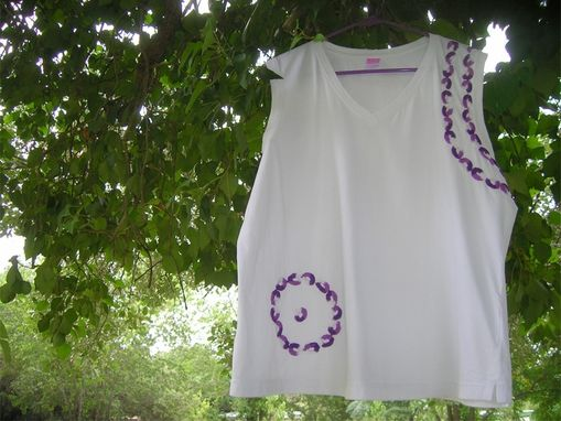 Custom Made Crochet Embellished Jersey V-Neck Sleeveless T-Shirt