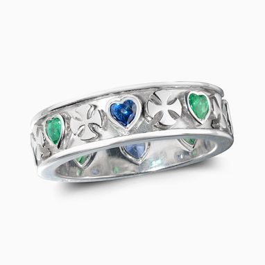 Custom Made Heart And Cross Wedding Band