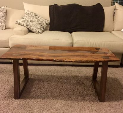 Custom Made Coffee Table,Live Edge Inlay,Steel Base,Woodworking,Living Room,Office,Mesquite,Reclaimed