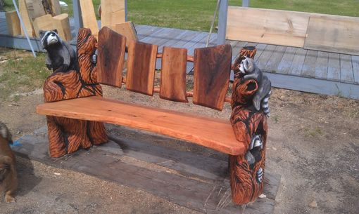 Handmade Rustic Raccoon Bench By From The Forest Inc
