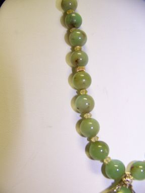 Custom Made Soft Green Chrysophrase Beads And Yellow Cz Crystals Shown W/ Beautiful Enhanced Druzy Quartz Stone