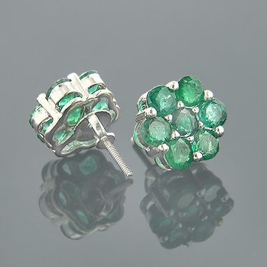 Custom Made Cluster Emerald Stud Earrings