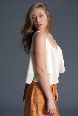 Custom Made Ivory Silk Crepe De Chine Layered Cami Style Swing Top - Made To Order - Spring/Summer