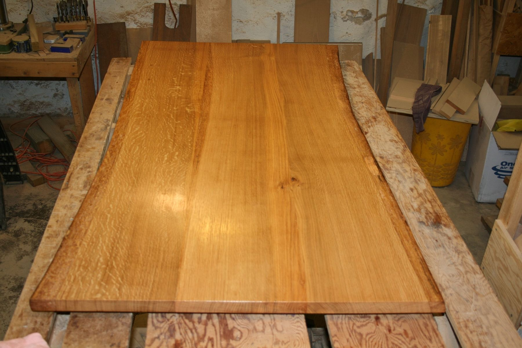 White Oak Table ~ Custom made white oak dining table top live edge by