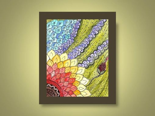 Custom Made Fine Art Print Reproduction Sunflower 8x10 Black Ink And Acrylic Painting