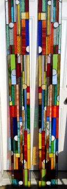"Custom Made Stained Glass Side Lights - ""Colorful Shapes"" (S-19)"