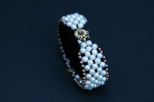 Custom Made Hand Woven Pearl Bracelet With Green Sapphire, Seed Pearls & Diamond Daisy Clasp.