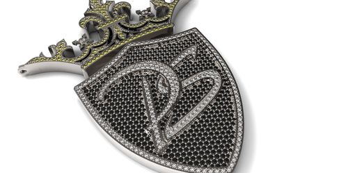 Custom Made Custom Pendant Encrusted With Round Cut Diamonds In 14k White Gold.