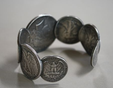 Custom Made Unisex Silver Eagle Coin Cuff Bracelet Size 8 (Large)