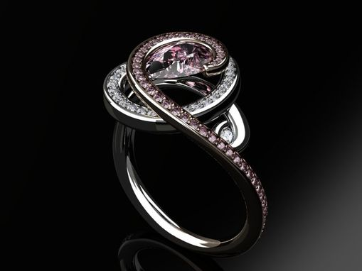 Custom Made Diamond And Pink Sapphire Ring